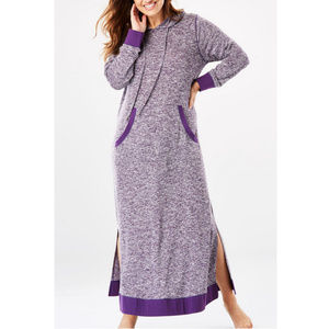 Dreams Co marled hooded Lounger Robe 18/20 violet